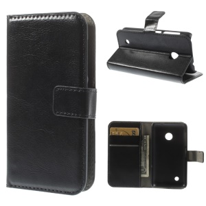 Black Crazy Horse Wallet Leather Stand Case for Nokia Lumia 530 Dual SIM RM-1019 / Nokia Lumia 530 RM-1017