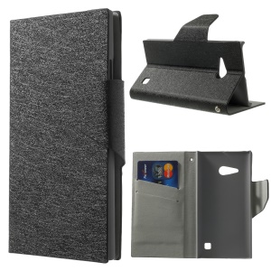 Silk Texture Leather Stand Case w/ Card Slots for Nokia Lumia 730 Dual SIM - Black