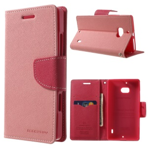 MERCURY Goospery Diary Leather Stand Case w/ Card Slots for Nokia Lumia 930 - Pink