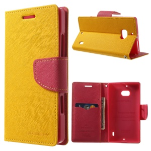 MERCURY Goospery Diary Leather Stand Cover w/ Card Slots for Nokia Lumia 930 - Yellow