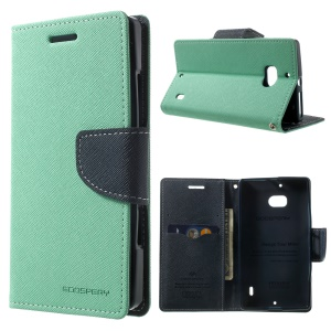 MERCURY Goospery Diary PU Leather Magnetic Case w/ Stand for Nokia Lumia 930 - Cyan