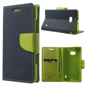 MERCURY Goospery Diary Magnetic Leather Card Holder Case for Nokia Lumia 930 - Dark Blue