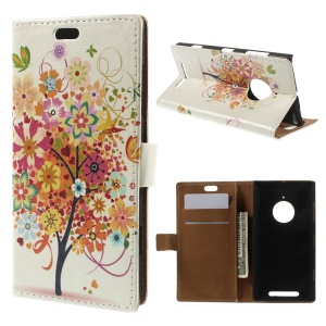 Wallet Stand Magnetic PU Leather Case for Nokia Lumia 830 - Colorful Tree Flowers