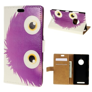 Flip Card Holder Leather Cover for Nokia Lumia 830 - Purple Hairy Doll