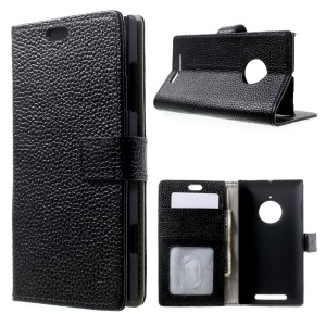 Genuine Full Grain Litchi Skin Leather Card Holder Case w/ Stand for Nokia Lumia 830 - Black