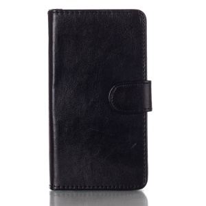 Magnetic Crazy Horse Leather Wallet Stand Case for Nokia Lumia 730 Dual SIM RM-1040 - Black