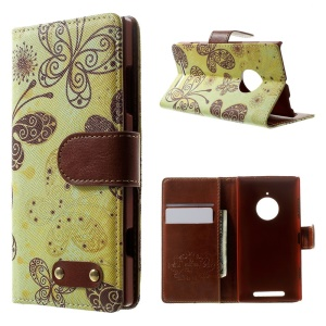 Butterflies Flip Leather Wallet Case for Nokia Lumia 830 w/ Stand