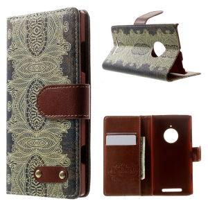 Porcelain Style Pattern Leather Wallet Case for Nokia Lumia 830 w/ Stand