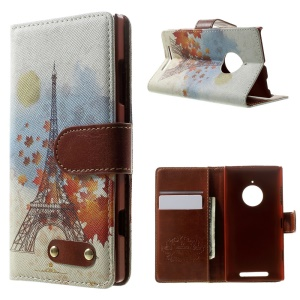 Eiffel Tower & Maple Leaves Leather Wallet Cover for Nokia Lumia 830