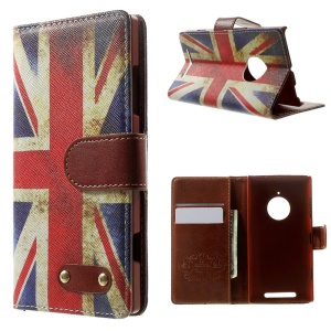 Retro UK Flag Flip Leather Wallet Cover for Nokia Lumia 830 w/ Stand