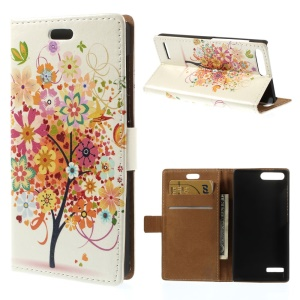 For Huawei Ascend G6 4G Wallet Stand Leather Phone Case - Colorful Flower Tree