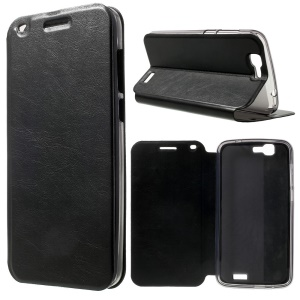 Crazy Horse Leather Stand Case for Huawei Ascend G7 - Black