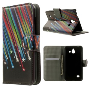 Meteor Shower Wallet Leather Case for Huawei Ascend Y550 w/ Stand