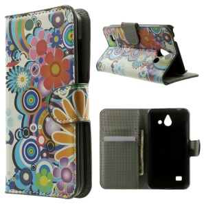 Wallet Leather Case for Huawei Ascend Y550 w/ Stand - Flower & Rainbow