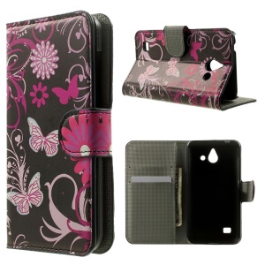 Wallet Leather Case for Huawei Ascend Y550 w/ Stand - Butterfly