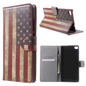 Retro American Flag Leather Case for Huawei Ascend P8 with Card Slots