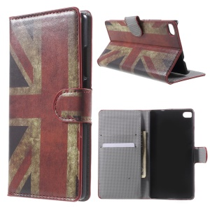 Vintage UK Flag Leather Cover for Huawei Ascend P8 with Card Slots