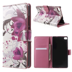 Elegant Lotus Magnetic Leather Stand Case for Huawei Ascend P8