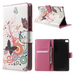 Butterfly Circles Wallet Leather Stand Cover for Huawei Ascend P8