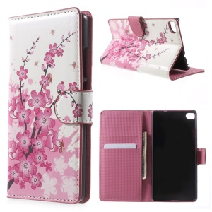 Plum Blossom Leather Case Cover for Huawei Ascend P8 with Card Slots