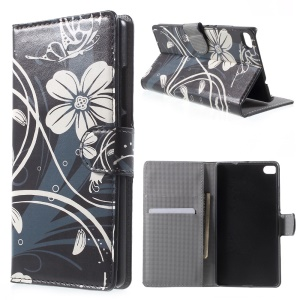 Beautiful Flowers Leather Wallet Case for Huawei Ascend P8 with Stand