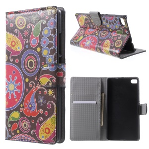 Paisley Flowers Leather Cover for Huawei Ascend P8 with Card Slots