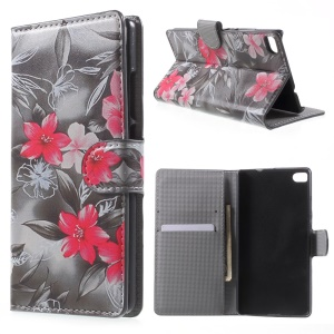 Red Flowers Leather Cover for Huawei Ascend P8 with Card Slots