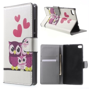 Three Owls & Hearts Leather Cover for Huawei Ascend P8 with Card Slots