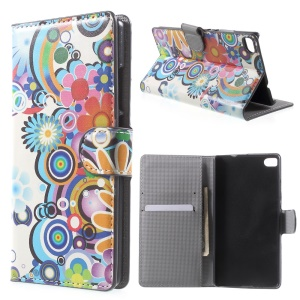 Colorized Flowers Leather Cover for Huawei Ascend P8 with Card Slots