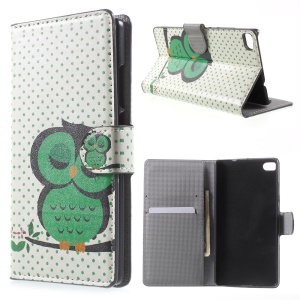 Sleeping Owl on the Branch Leather Cover for Huawei Ascend P8 with Card Slots