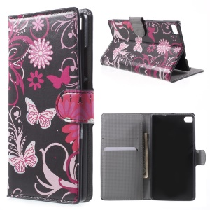 Butterfly Flowers Leather Cover for Huawei Ascend P8 with Card Slots