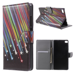 Meteor Shower Leather Cover Case for Huawei Ascend P8 with Stand