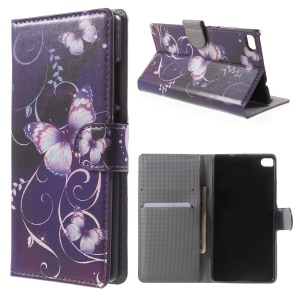 Purple Butterfly Leather Cover for Huawei Ascend P8 with Card Slots