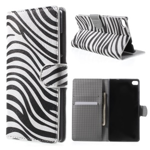 Zebra Stripes Leather Cover for Huawei Ascend P8 with Card Slots