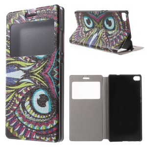 Colorized Owl Leather Case for Huawei Ascend P8 Window View