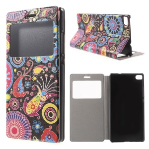 Paisley Flowers Leather Cover for Huawei Ascend P8 Window View