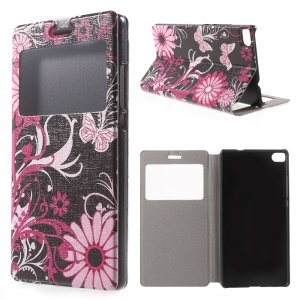 Butterfly Flowers Leather Case Cover for Huawei Ascend P8 Window View