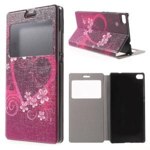 Heart Flowers Leather Stand Case for Huawei Ascend P8 Window View