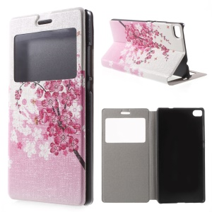 Plum Blossom Leather Case Cover for Huawei Ascend P8 Window View