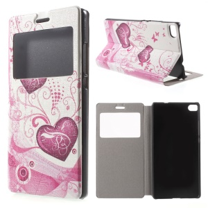 Two Hearts Leather Cover for Huawei Ascend P8 Window View