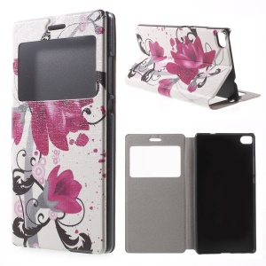Elegant Lotus Leather Cover for Huawei Ascend P8 Window View
