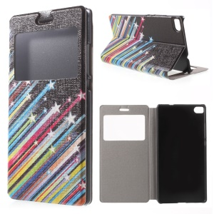 Meteor Shower Folio Leather Case for Huawei Ascend P8 Window View