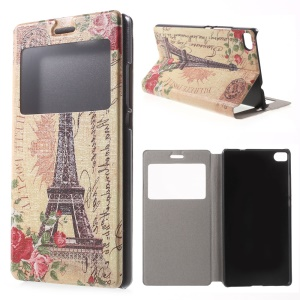 Eiffel Tower Leather Cover Case for Huawei Ascend P8 Window View