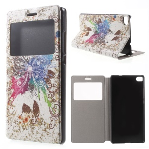 Vivid Butterfly Leather Cover for Huawei Ascend P8 Window View