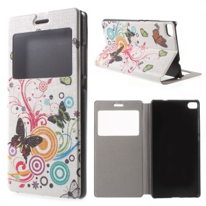 Butterfly Circles Leather Cover for Huawei Ascend P8 Window View