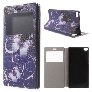 Purple Butterfly Leather Cover for Huawei Ascend P8 Window View