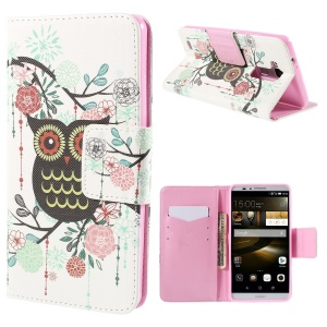 Owl Flowers Leather Case for Huawei Ascend Mate7 with Card Slots