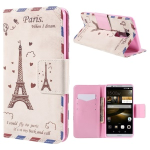 Eiffel Tower Wallet Stand Leather Case for Huawei Ascend Mate7