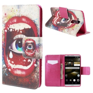 Sexy Lip and Eye Wallet Leather Cover for Huawei Ascend Mate7 with Stand