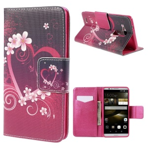 Heart Flowers Flip Leather Case for Huawei Ascend Mate7 with Card Holder